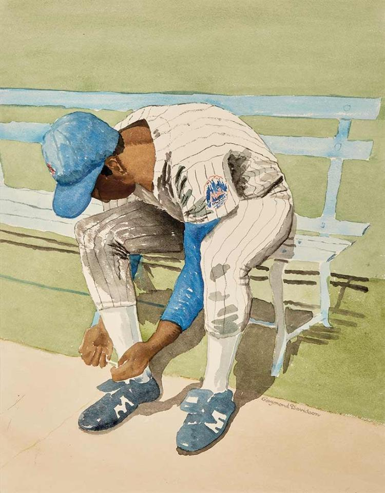 New York Mets Large group of approximately twenty original watercolors by artist Raymond Davidson, depicting various team me...