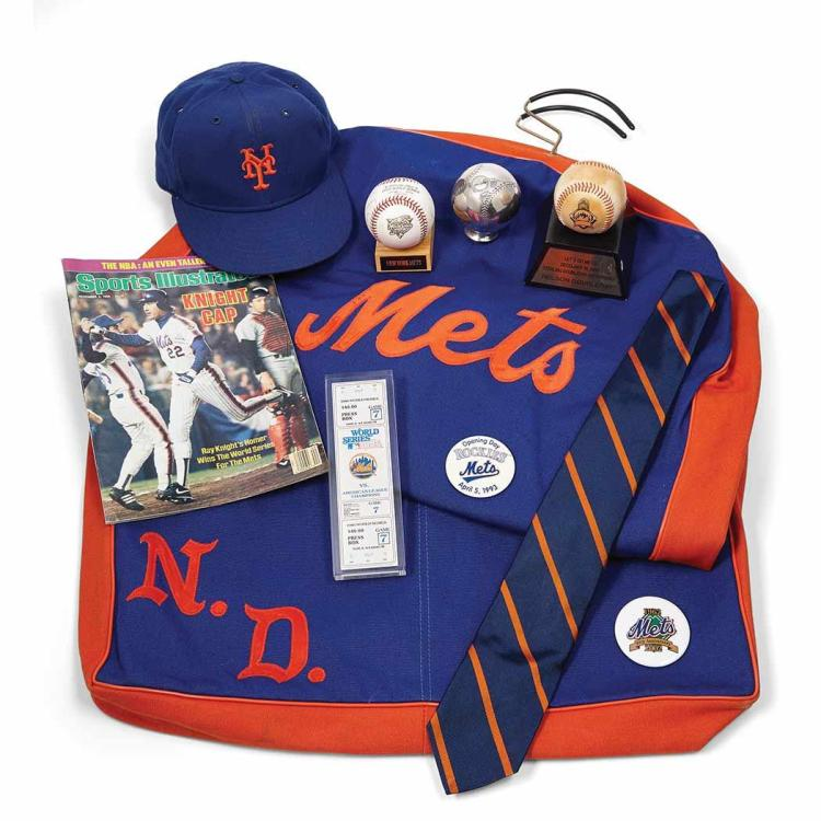 New York Mets An interesting group of the owner''s memorabilia, including a framed ticket to game seven of the 1986 World Ser...