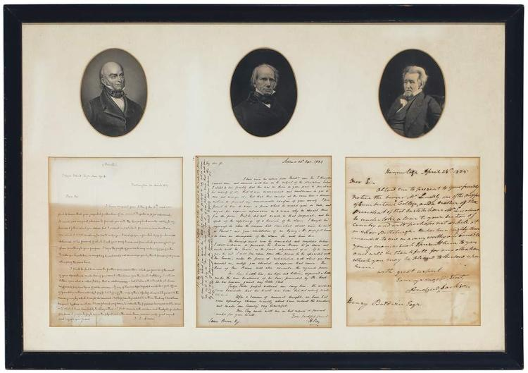 ADAMS, JOHN QUINCY; CLAY, HENRY; and JACKSON, ANDREW Three autograph letters signed. An interesting display of long single p...