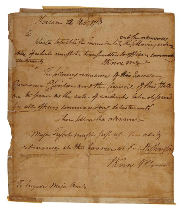 [AMERICAN REVOLUTION] KNOX, HENRY. Autograph letter signed. Harlem: 22 November 1783. One page autograph letter signed