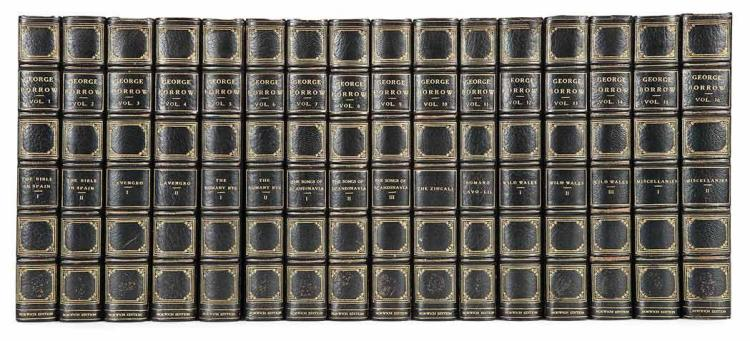 BORROW, GEORGE Works. London & New York: Constable & Gabriel Wells, 1922-24. The Norwich edition. 16 volumes. Half blue moro...