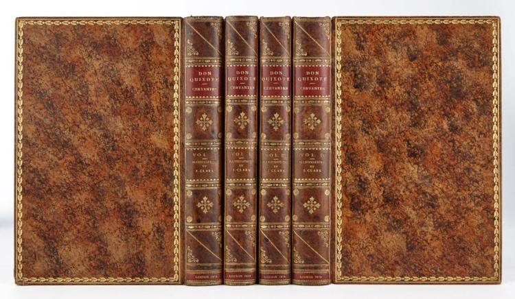 CERVANTES Don Quixote de la Mancha. London: T. M''Lean, 1819. 4 volumes. Full contemporary polished mottled calf. Hand-colore...