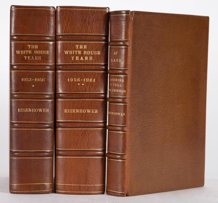 EISENHOWER, DWIGHT Three finely bound titles, each in full brown morocco gilt, slipcased. Comprising The White House Year...