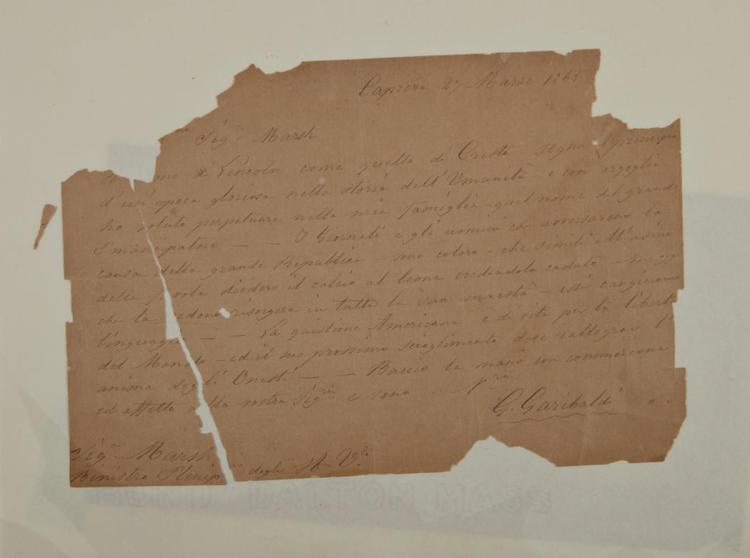 GARIBALDI, GIUSEPPE Autograph letter signed. Caprera: 27 March 1865. One page autograph letter in Italian signed