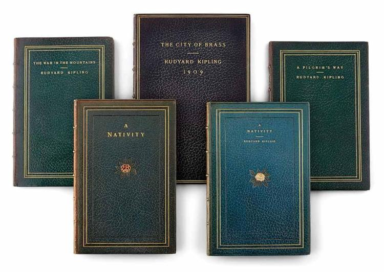 KIPLING, RUDYARD A finely bound group of Kipling titles, including several special copies, published by Doubleday unless not...
