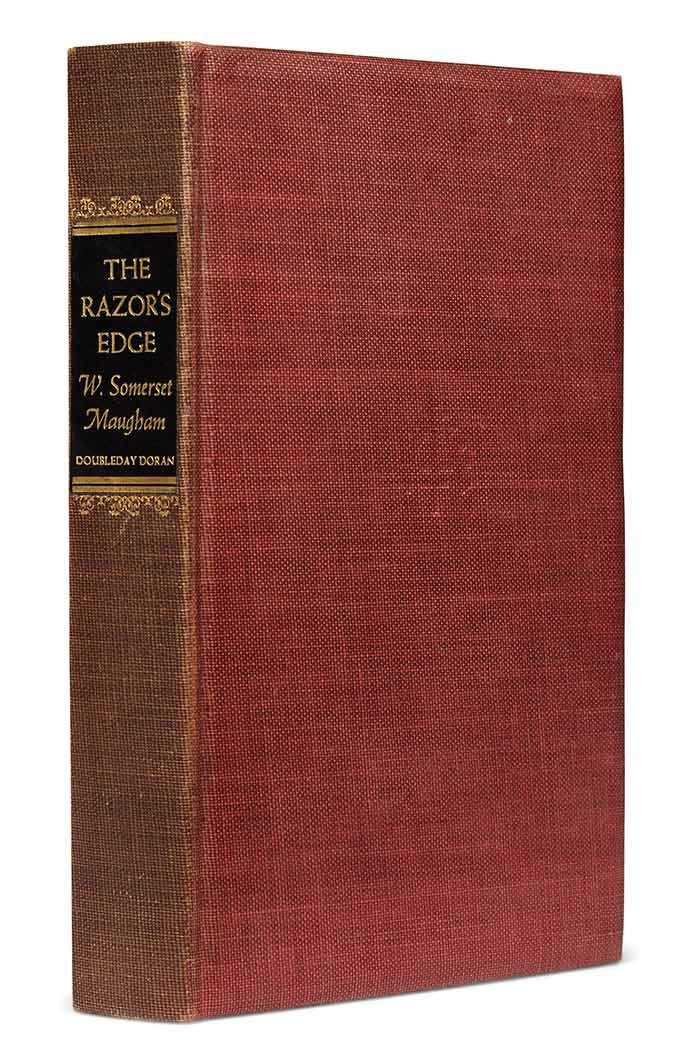 MAUGHAM, W. SOMERSET The Razor''s Edge. Garden City: Doubleday, Doran, 1944. Copy number 1 from the edition of 750 copies, si...
