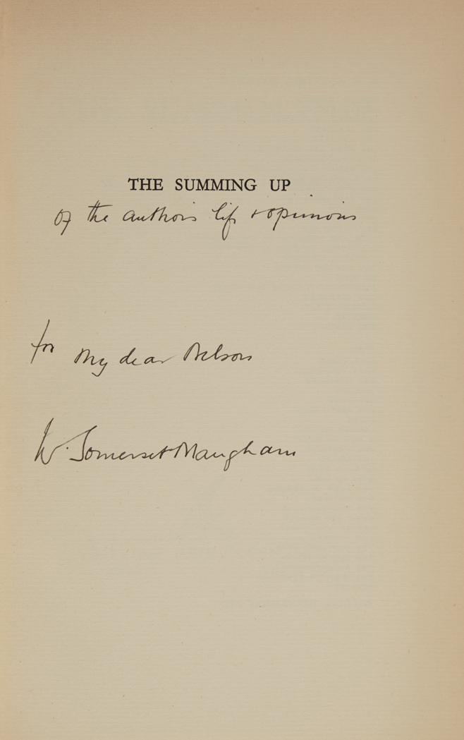 MAUGHAM, W. SOMERSET An important collection of presentation copies of Maugham''s works to his American publisher, Nelson Double...