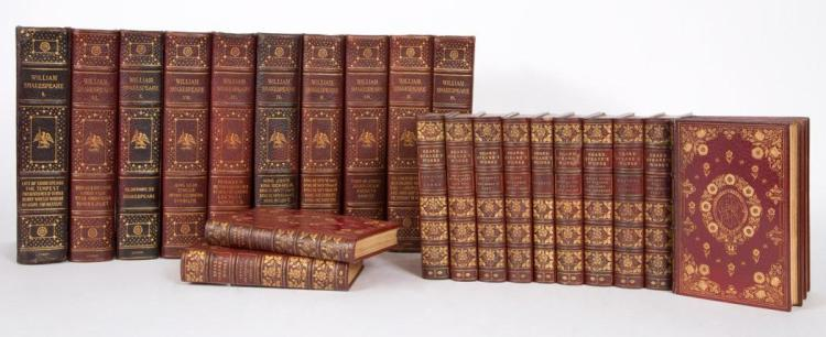 SHAKESPEARE, WILLIAM Two sets of Shakespeare, approximately 20 volumes together, the first a small format set in full decora...
