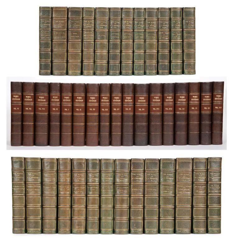 STEVENSON, ROBERT LOUIS Works. New York: Scribners, 1922. The Valima Edition, number 97 of 1030 sets. 26 volumes. Half green...