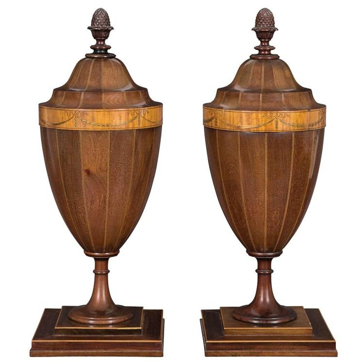 Pair of George III Mahogany and Marquetry Cutlery Urns