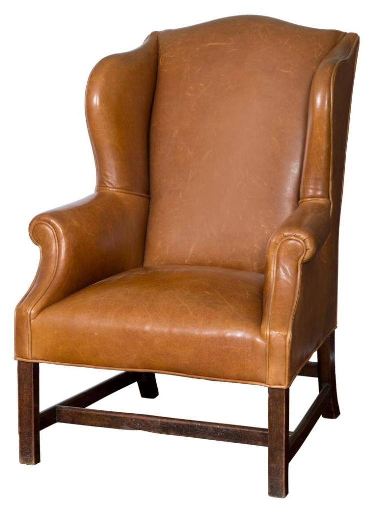 George III Leather Upholstered Mahogany Wing Chair