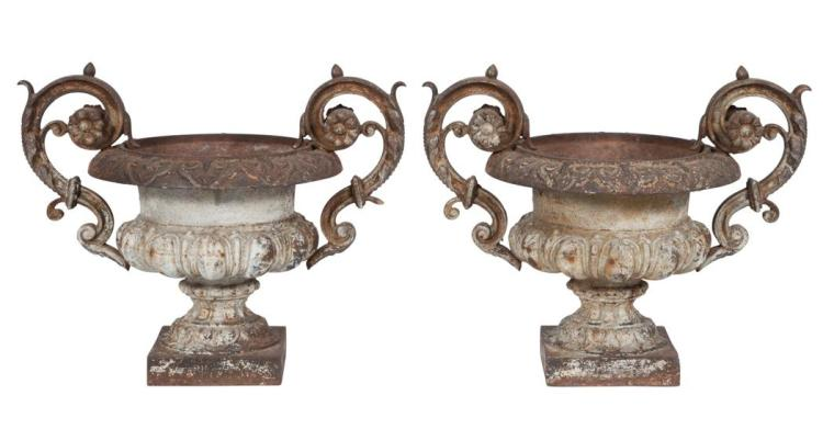 Pair of Neoclassical Style Cast Iron Urns