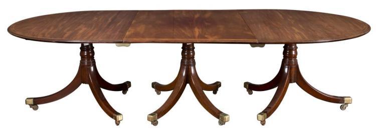 George III Mahogany and Satinwood Triple-Pedestal Dining Table