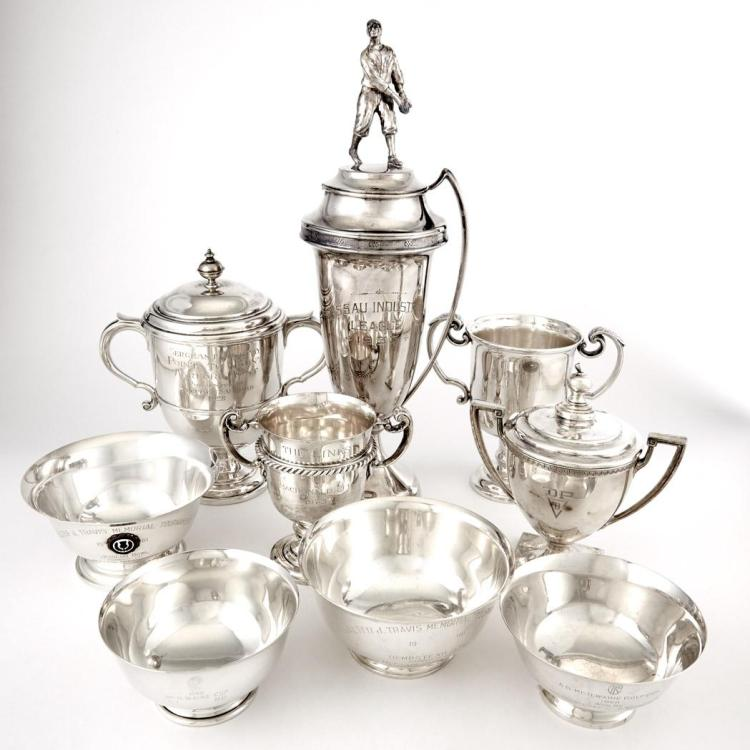 Group of Nine Sterling Silver and Silver Plated Trophies