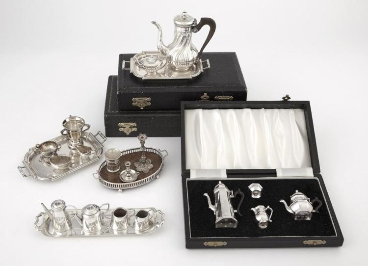 Group of English Sterling Silver Miniature Table Articles