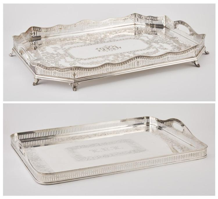 Two Silver Plated Galleried Trays