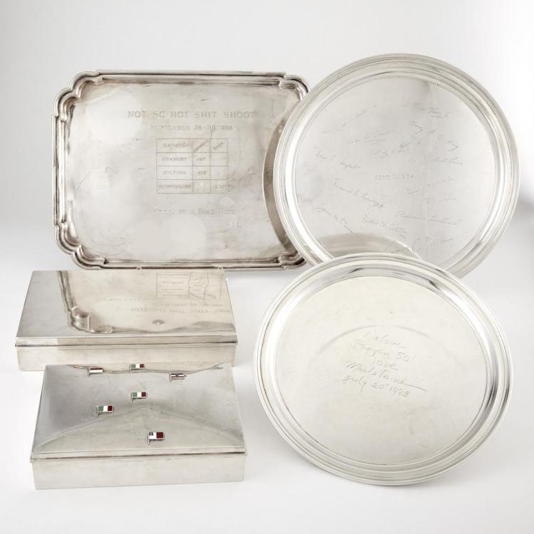 Group of Five Sterling Silver Trays and Boxes