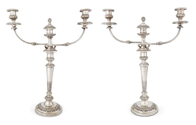 Pair of George III Silver Candlesticks; Together with a Pair of Silver Plated Three-Light Branches