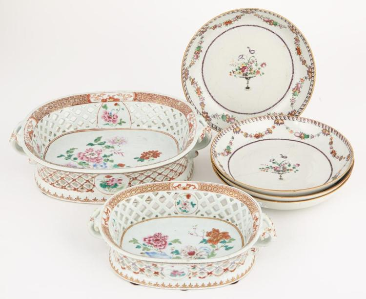 Group of Chinese Export Famille Rose Porcelain Articles