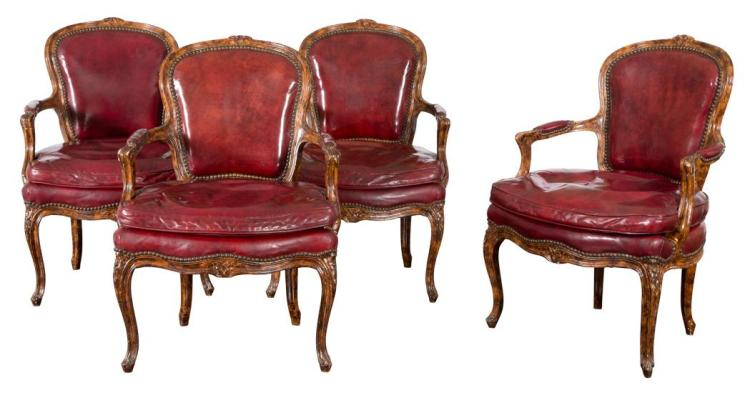 Set of Four Louis XV Style Painted Fauteuils