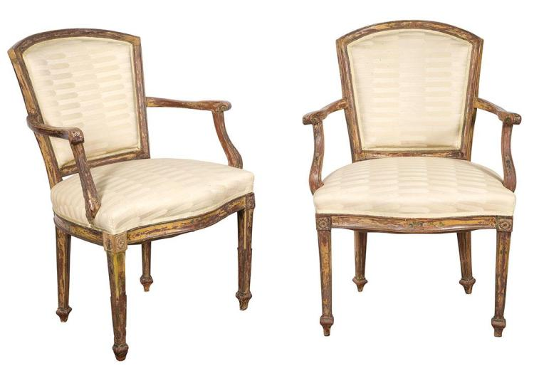 Pair of Italian Neoclassical Painted Open Armchairs