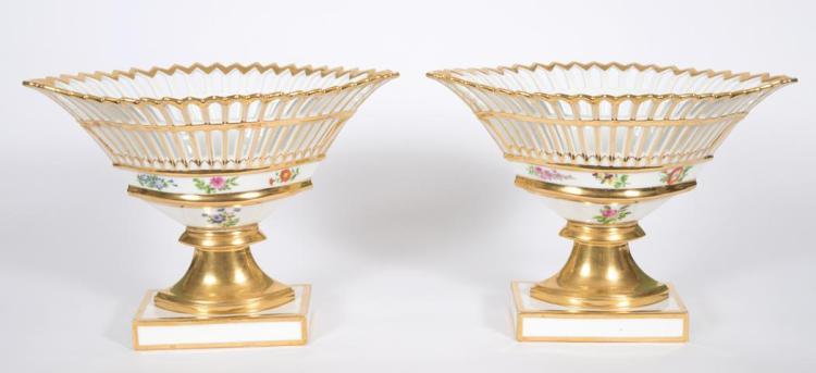 Pair of Paris Porcelain Baskets
