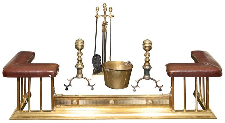 Pair of English Brass Andirons; Together with a Set of Brass Fire Tools, Brass Log Bucket and Brass and Leather Fender