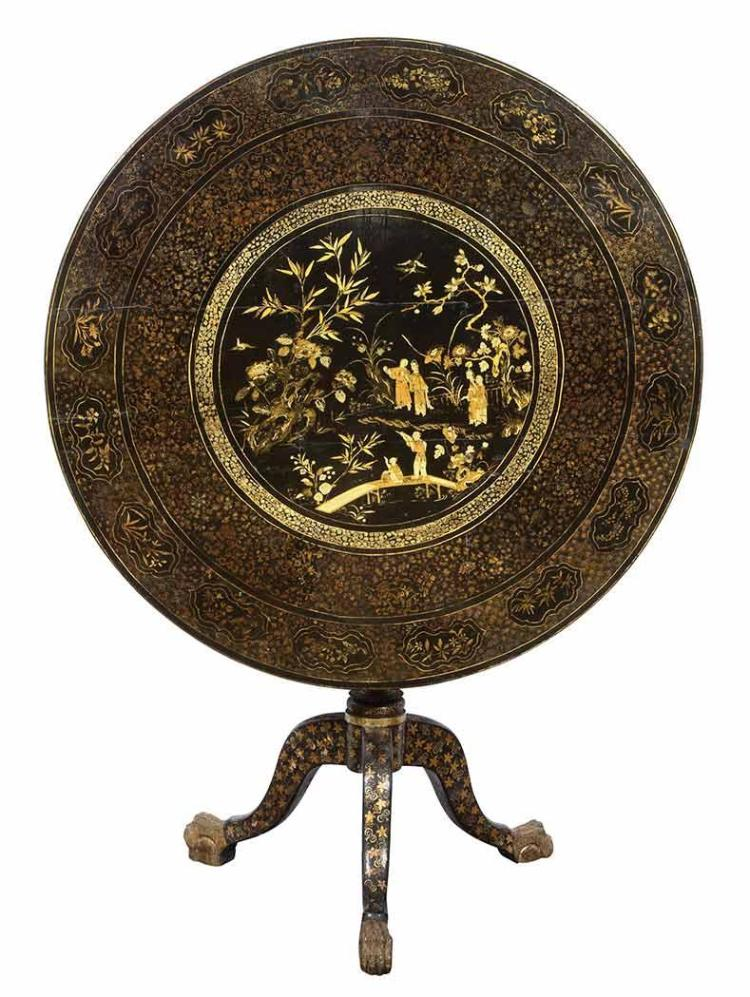 Chinese Export Brown Lacquer and Parcel Gilt Tripod Table