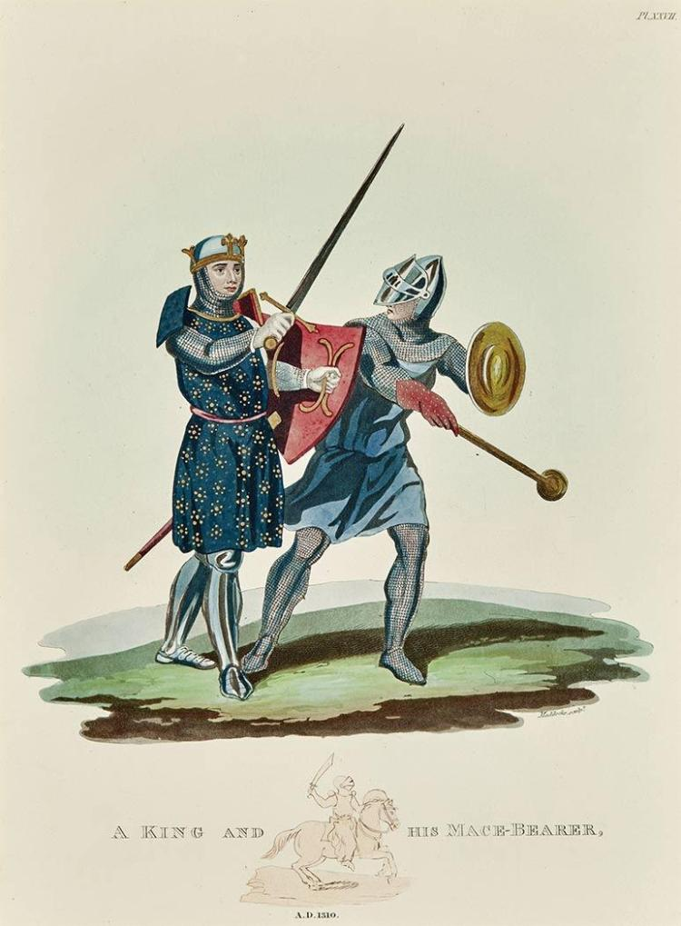 Artist Unknown [SOLDIER AND KNIGHT STUDIES] Eight hand-colored etchings and aquatints