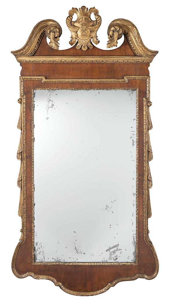 George II Parcel Gilt Walnut Mirror