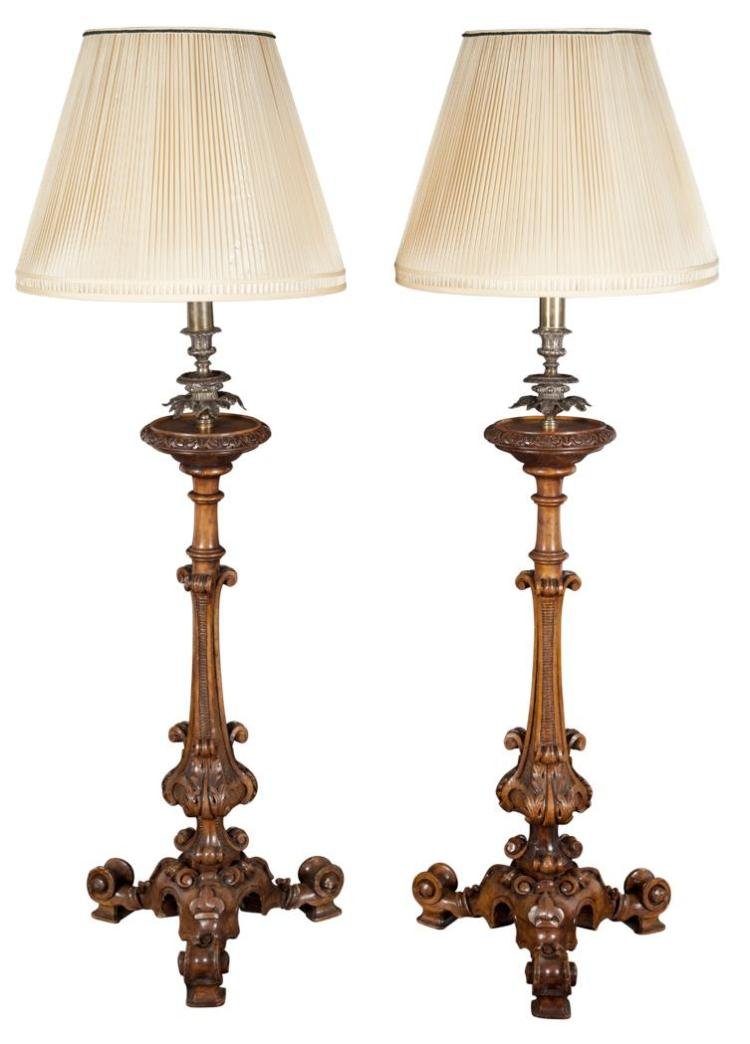 Pair of Victorian Carved Beechwood Torcheres