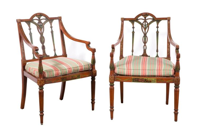 Pair of Edwardian Painted Mahogany Open Armchairs
