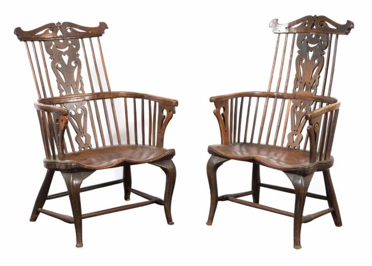 Assembled Pair of Elmwood Windsor Armchairs