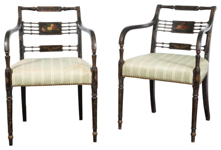 Pair of Regency Painted Armchairs