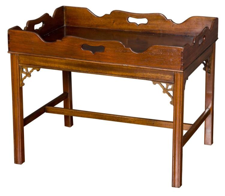 George III Style Mahogany Tray on Stand