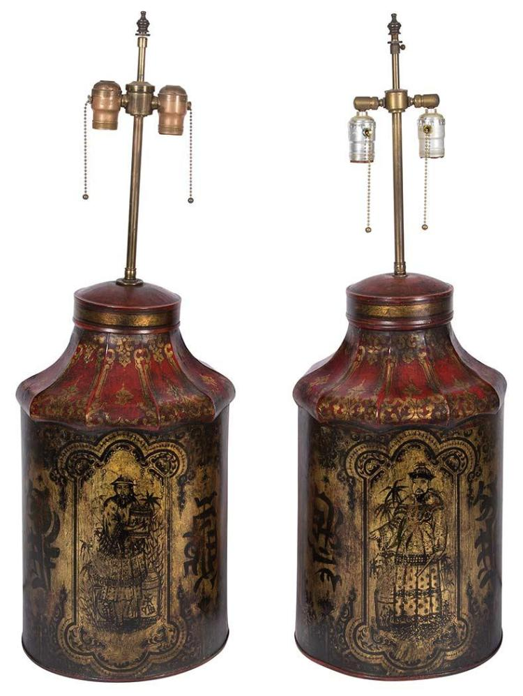 Pair of Chinoiserie Decorated Tole Tea Canister Lamps