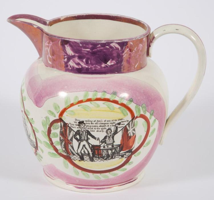 English Lustre Sailor''s Farewell Pitcher