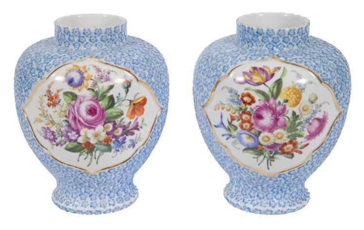 Pair of Meissen Style Porcelain Vases