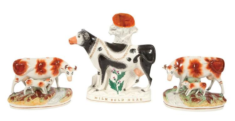 Staffordshire Pottery Cow-Form Spill Vase; Together with a Pair of Staffordshire Pottery Figures of Cows and Calves