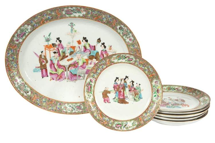 Assembled Chinese Rose Medallion Porcelain Part Service