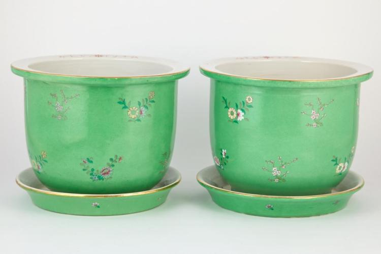 Pair of Japanese Green Painted Porcelain Jardinieres and Undertrays