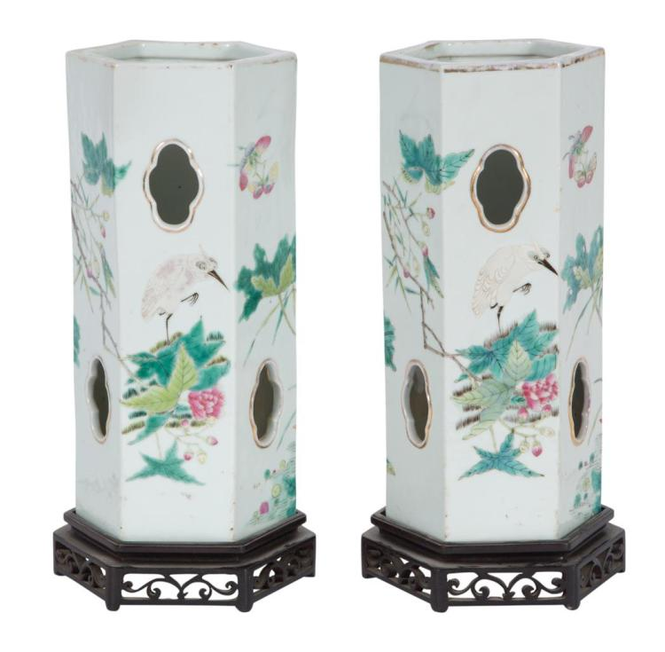 Pair of Chinese Famille Rose Porcelain Lanterns