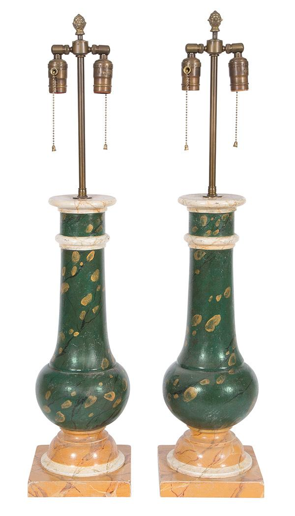 Pair of Neoclassical Style Painted Columnar-Form Lamps