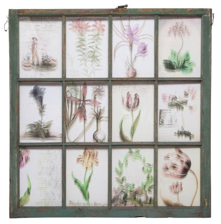 Transfer Decorated Glass and Painted Wood Window Frame