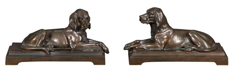 Pair of Bronze Dog-Form Bookends