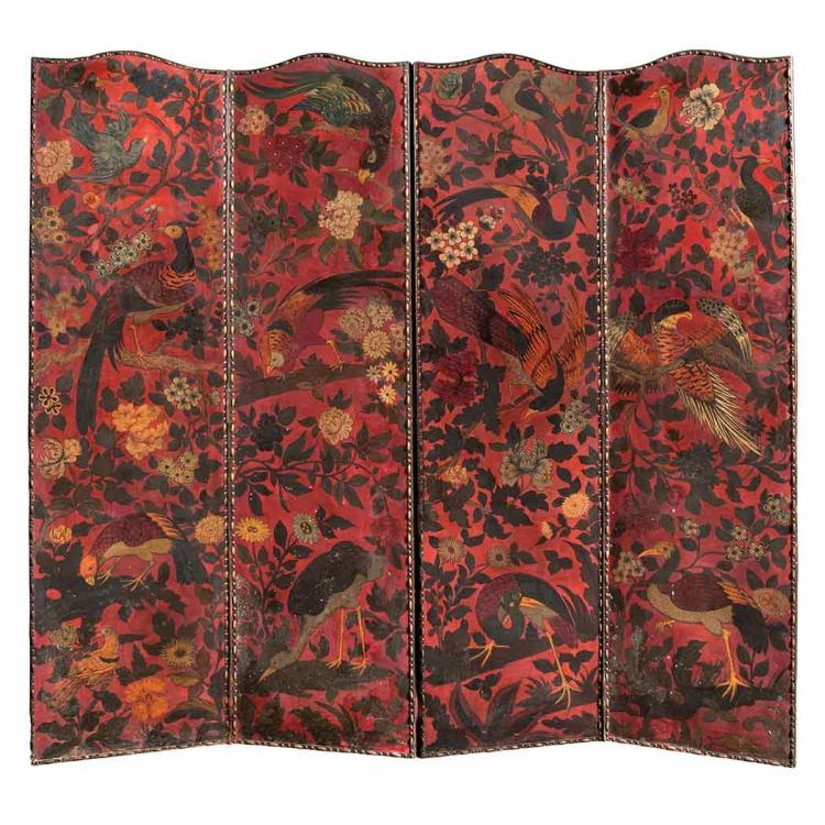 Chinoiserie Decorated Four-Panel Painted Leather Screen