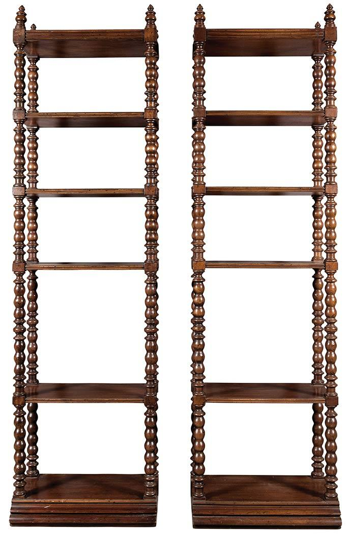 Pair of Regency Style Stained Wood Etageres
