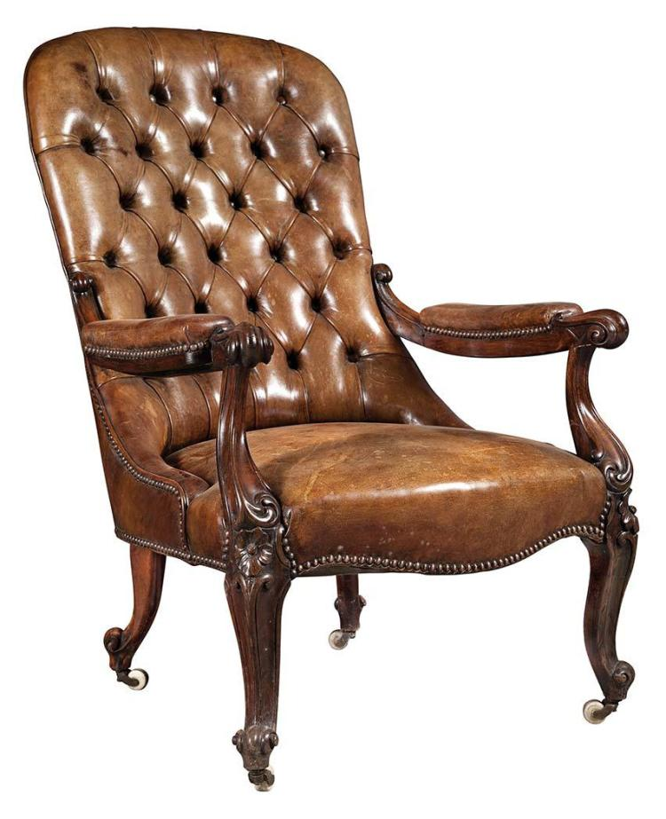 Victorian Leather Upholstered Rosewood Armchair