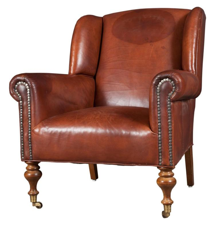 Leather Upholstered Wing Armchair
