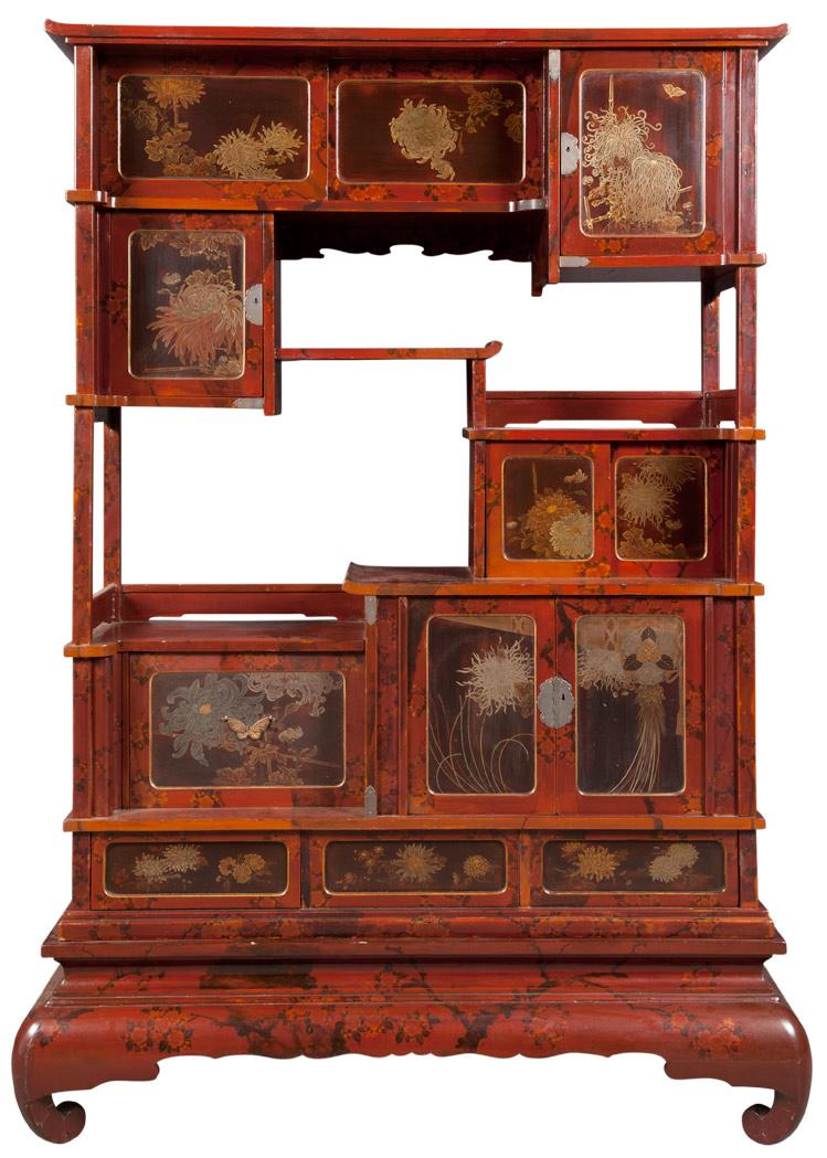 Japanese Lacquered and Parcel Gilt Etagere/Cabinet